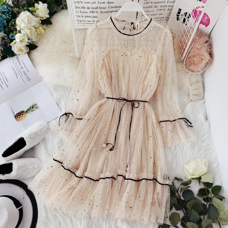 Hisuma primavera estate nuove donne stella paillettes garza flare manica alta girovita vestito da principessa femminile elegante o-collo abiti in rete Q190509