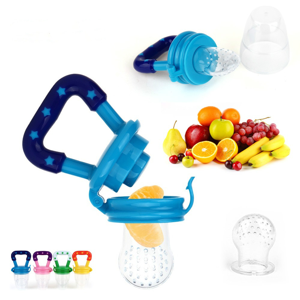 Baby Infant Toddler Blue Soft Silicone Nipple Shaped Studded Teether Pacifier