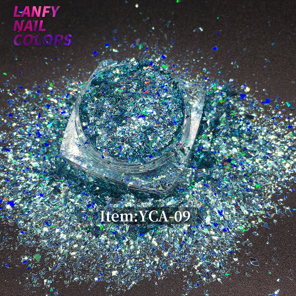 YCA-06 Laser Rainbow Nail Art Glitters Sequins Sheet Powder Diamond Holo Flake Colorful Glitter | Holographic Nail Flakes