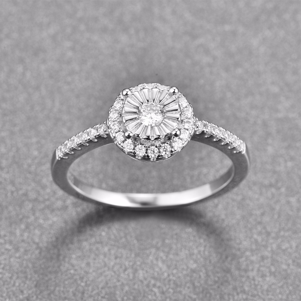 Klassische Luxus Echt Solide 925 Sterling Silber Ring Runde Voll Zirkon Hochzeit Schmuck Ringe Engagement Für Frauen