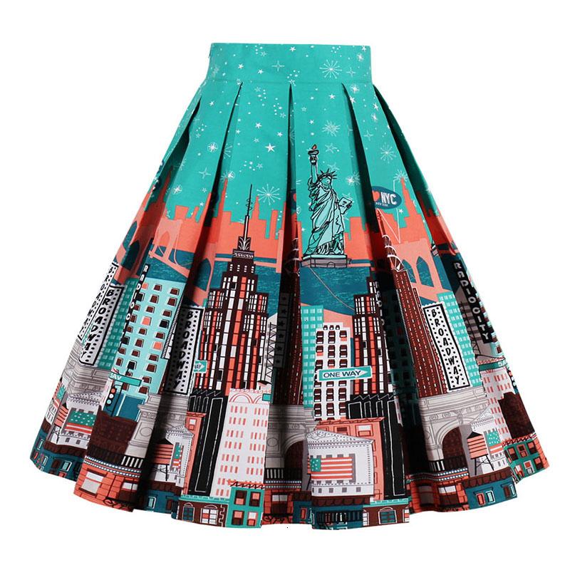 Kostlish Retro Print Flower Summer Skirts Womens High Waist Vintage Skirt Elegant A-Line Midi Women Skirt Plus Size XXL (20)