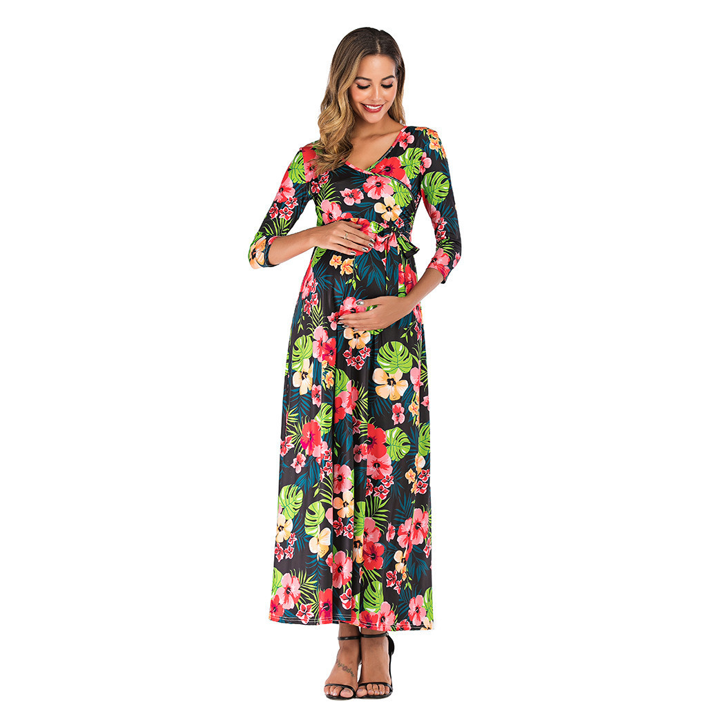 Women Maternity Dresses For Baby Showers Three Quarter Print Elegant Summer Nursing Dress Pregnancy Clothes Vetement Femme 19jun