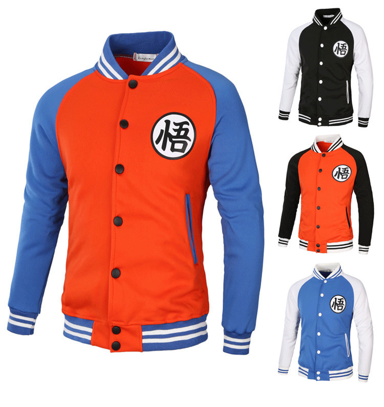 Men Coat Ball Zipper Jacket Cardigan Goku Kame Symbol Casual Baseball Uniform