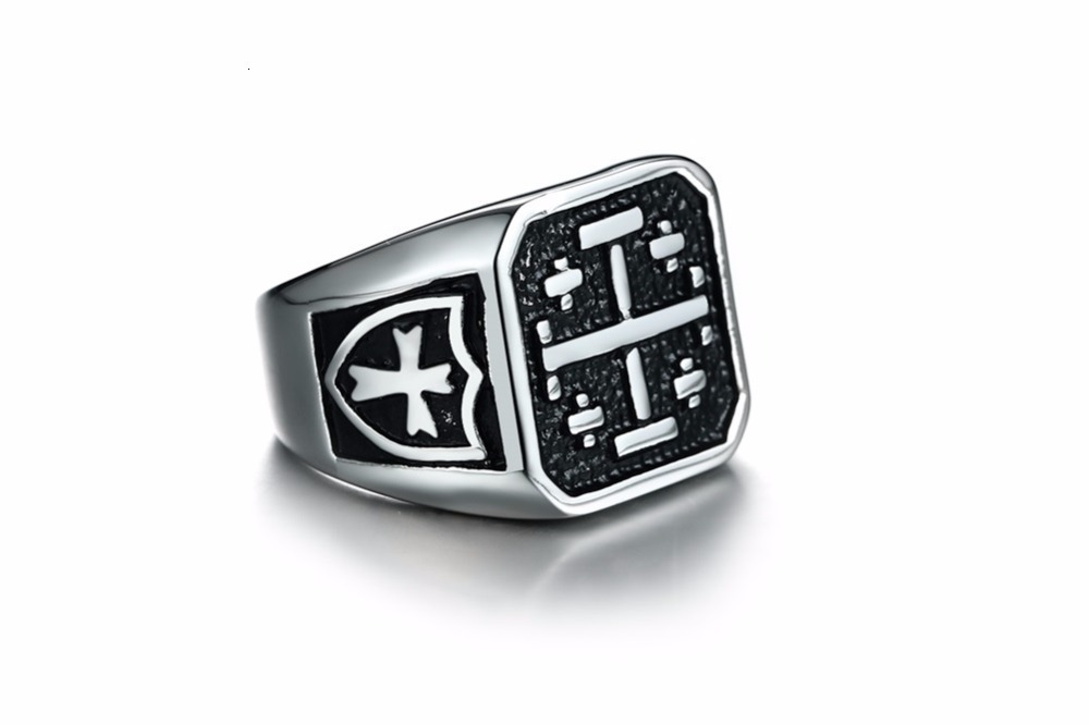 Jerusalem Cross Medieval Signet Ring for Men Solid Stainless Steel Vintage Jewelry Anel Aneis Masculinos Anillos 15