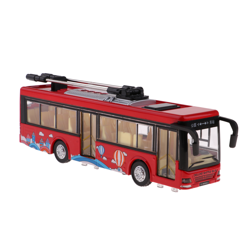 Red Pull-Back School Bus Alloy Diecast Toy Vehicles with Lights