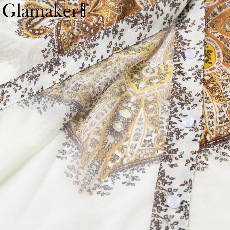 Glamaker Paisley Imprimir Sexy elegante blusa camisa blanca de verano de manga larga linterna blusa bohemia mujeres Causal Top Ladies Y190510