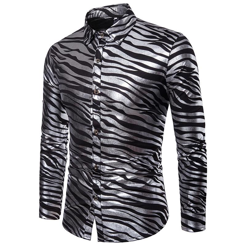 Men Shirt Shiny Zebra Striped Shirt Causal Slim Fit Long Sleeve Mens Dress Shirts Nightclub Party Prom Gold Bronzing Streetwear Y190506
