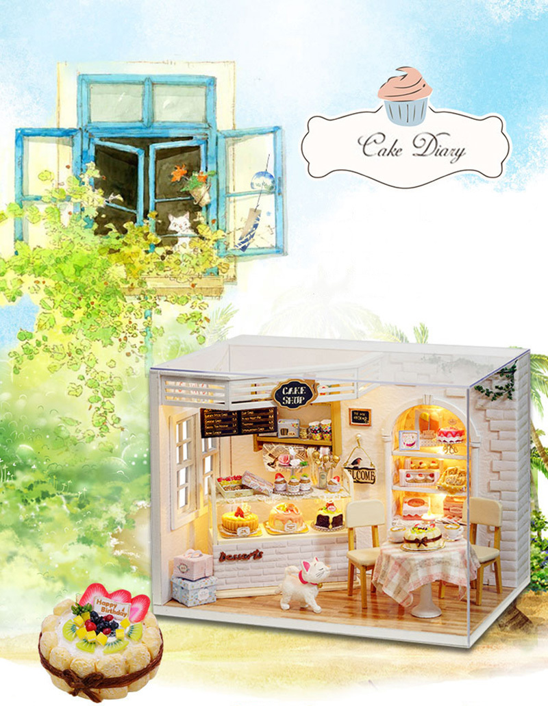 Cake Diary DIY Miniature Doll House 3D Wodden Handmade Dust Cover DollHouse Toy Miniaturas Furniture Kit Dollhouse Toys for Kids Gifts (1)