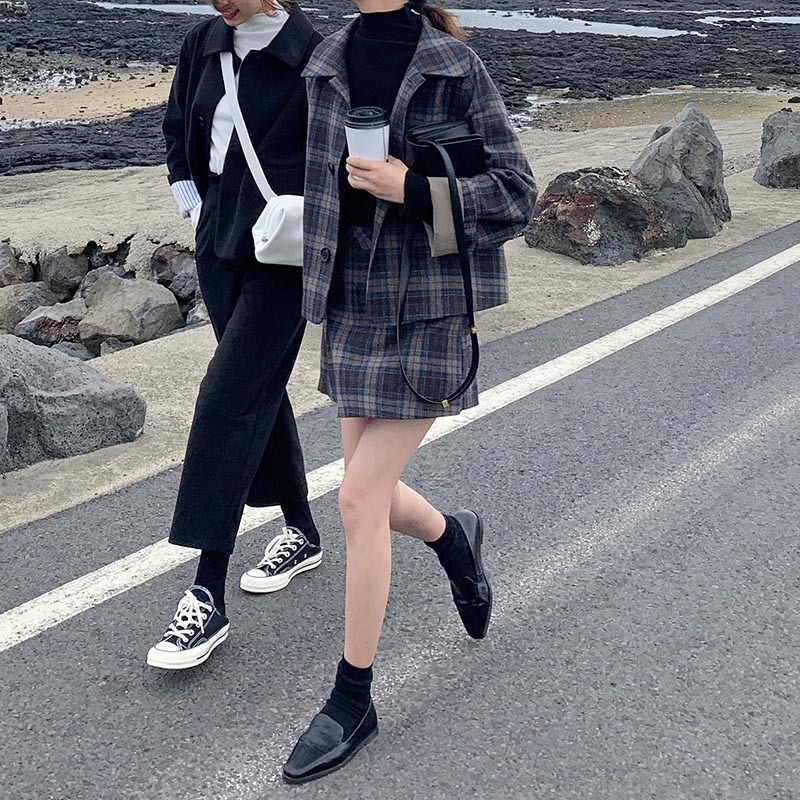 Love2019 Network Red With Save Worry Collocation Woolen Lattice Loose Coat Western-style Trousers / Dress Three-piece Check Suit