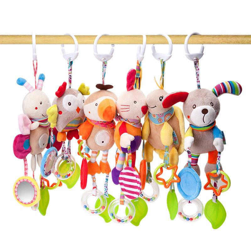 Creative Newborn Baby Animal Plush Rattles Hand Bells Sound Educational Toys