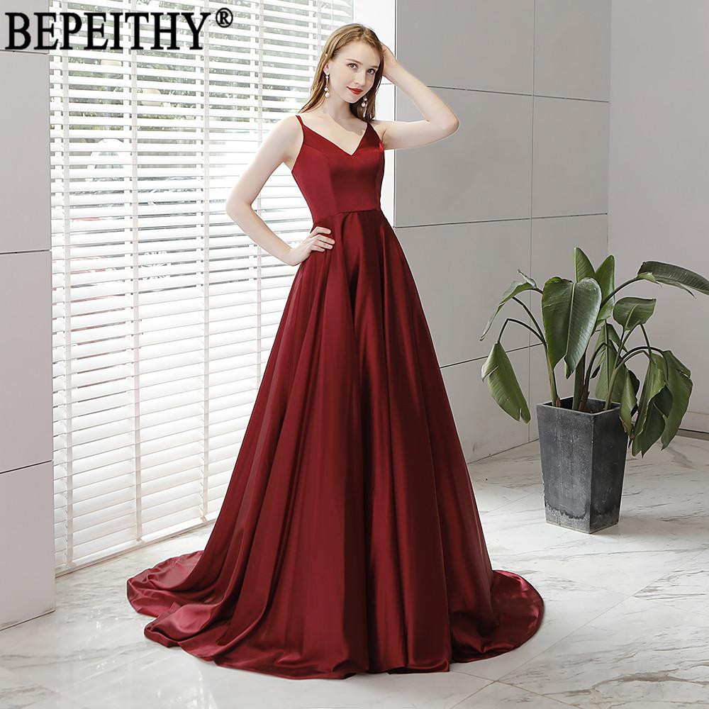5dcb3c7f51a65 BEPEITHY Vestido De Festa New Design Sexy Slit Formal Dress Burgundy V Neck  Long Evening Dresses Reflective Dress 2019