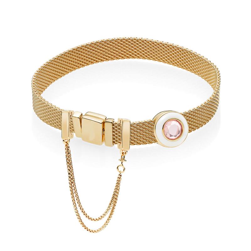Auténtico 925 plata esterlina brillo reflejos brillante círculo pulsera Fit encantos europeos Pan pulseras para mujeres joyería DIY