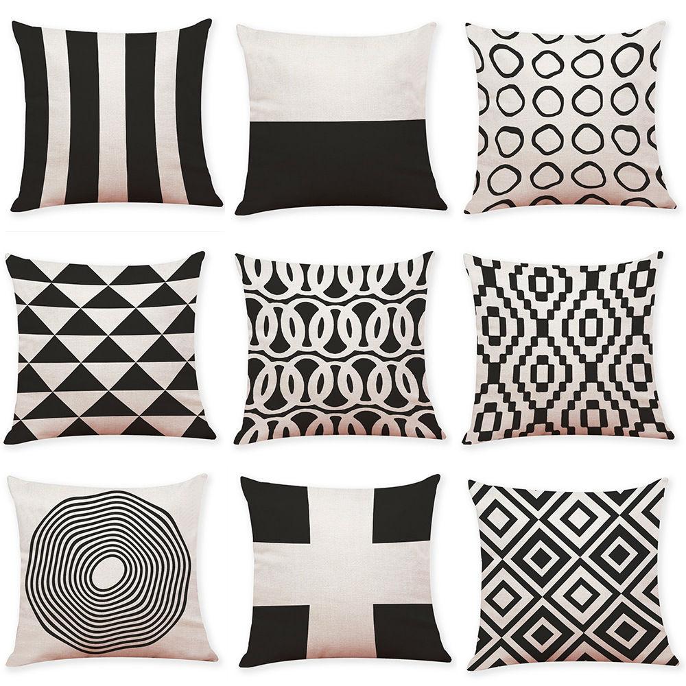 Cuscini Bianchi E Neri fodera per cuscino in lino geometrico bianco e nero divano per ufficio a  casa cuscino quadrato fodere per cuscini decorativi federe (18 * 18 pollici)