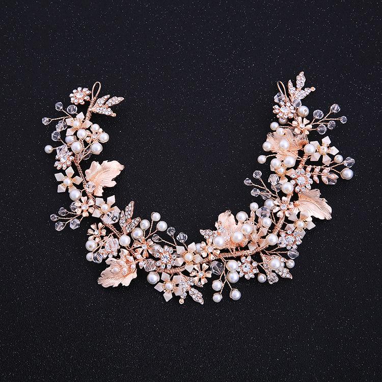 Flyhigh Handmade Hair Band Fashion Elegant Flower Floral Headband Bride Tiara Wedding Hair Accessories Pearl Rhinestone Women Jewelry