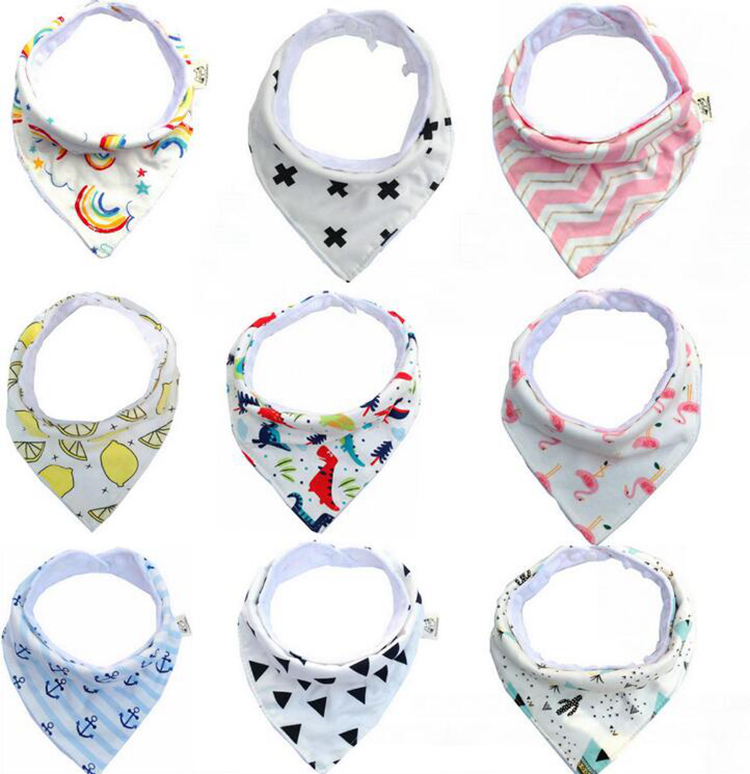 Baby Boy Girl Saliva Towel Bibs Dribble Triangle Kids Head Scarf With Pendant N7