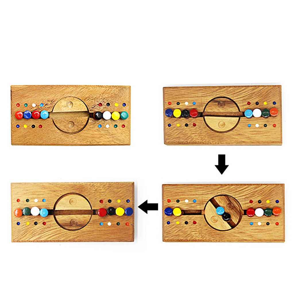 MagiDeal Bar Moving Matching Wooden Brain Teaser Puzzles IQ Test Game Toy Kids Child Intelligence Toy