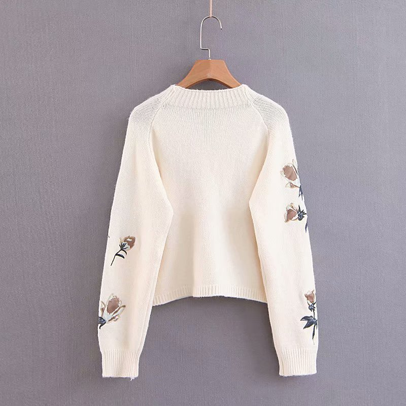2019 Spring New Pattern Wind Patch Embroidery Round Neck Pullover Short Fund Knitting Sweater