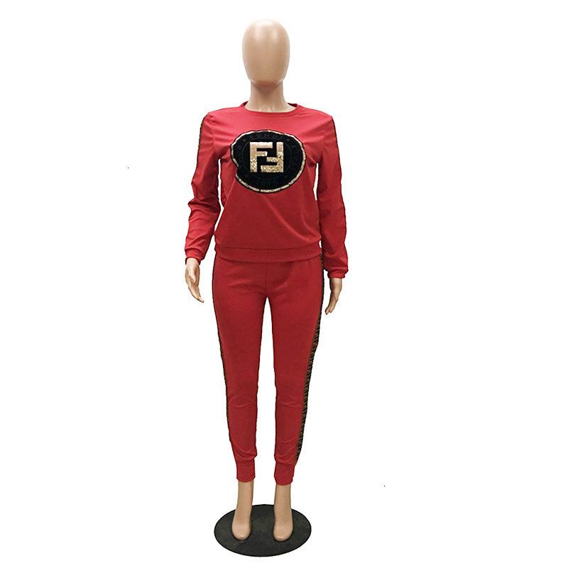 Autumn Women Tracksuit Sequin F letter Print Set Long Sleeve Sweatshirt Hoodie Pencil Pants Sports Suit Fashion Outdoor Outfit C631