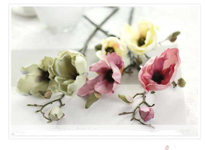 MOQ option Realistic Spring Artificial Retro Magnolia Silk Flower Arrangement Wholesale Home Table Room wedding for decoration