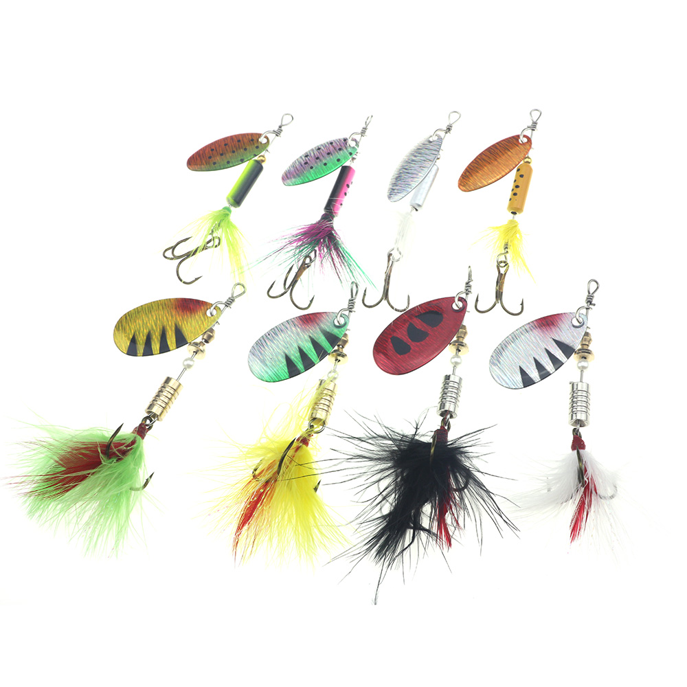 Spinner Lure Rotating Basso Feather paillettes Lures amo da pesca esche