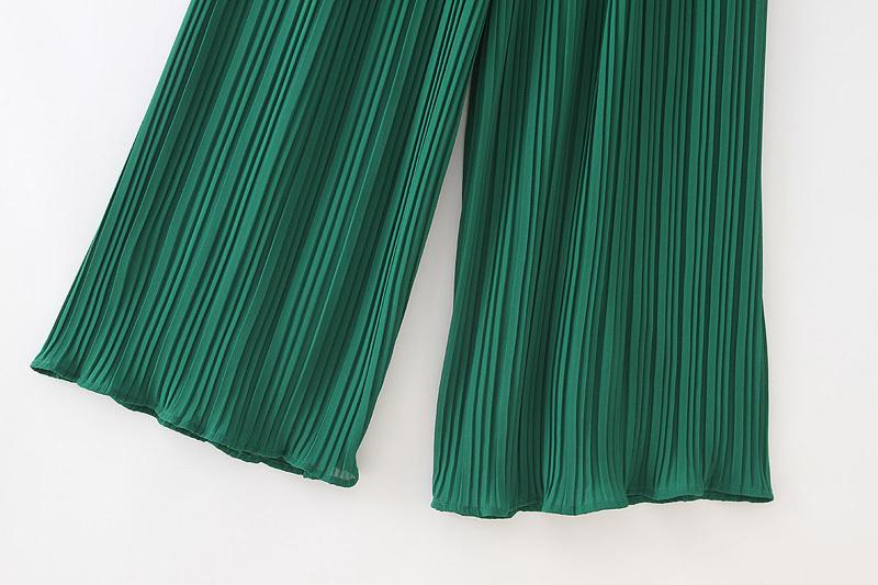 Vadim Women Chiffon Green Pleated Jumpsuits Elastic Waist Ruffles Sleeveless Backless Rompers Female Solid Chic Playsuits Ka615 J190622