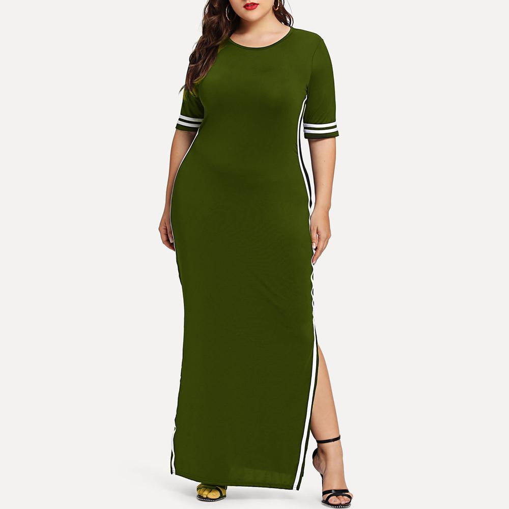 Sexy Stripe Split Front Summer Floor Length Dress Plus Size Long Maxi Dress Slim Elastic Bodycon Party Wear Dress Vestidos Y190514