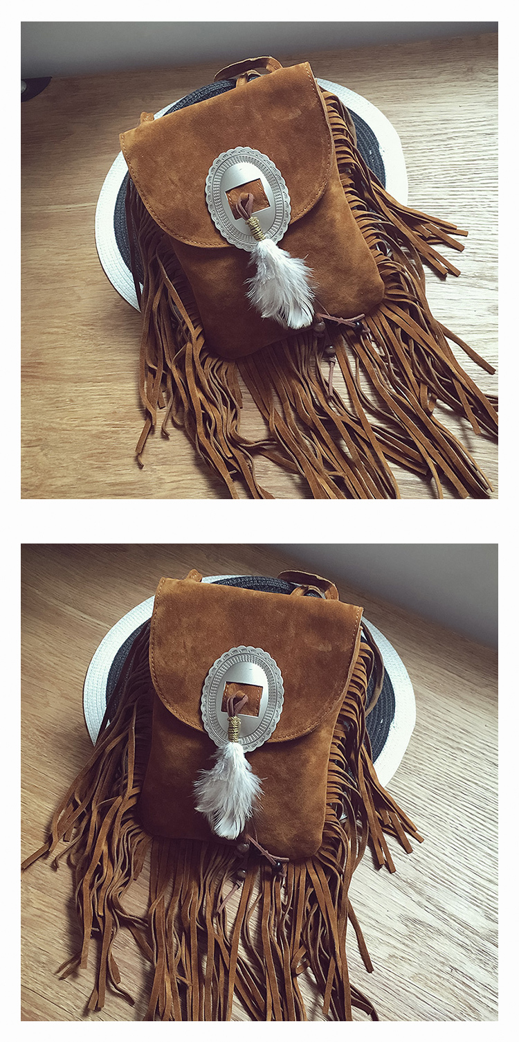 Female Small suede Bag Brown Beaded Feathers Hippie American Indian Tribal Bohemian Boho Chic Ibiza Style Pouch Bag (11)
