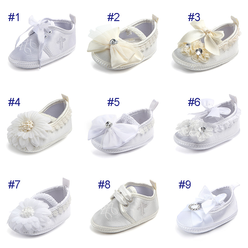 Classic Mary Jane w//Bow /& Rhine Flower Baby Girl Shoes  Christening //formal