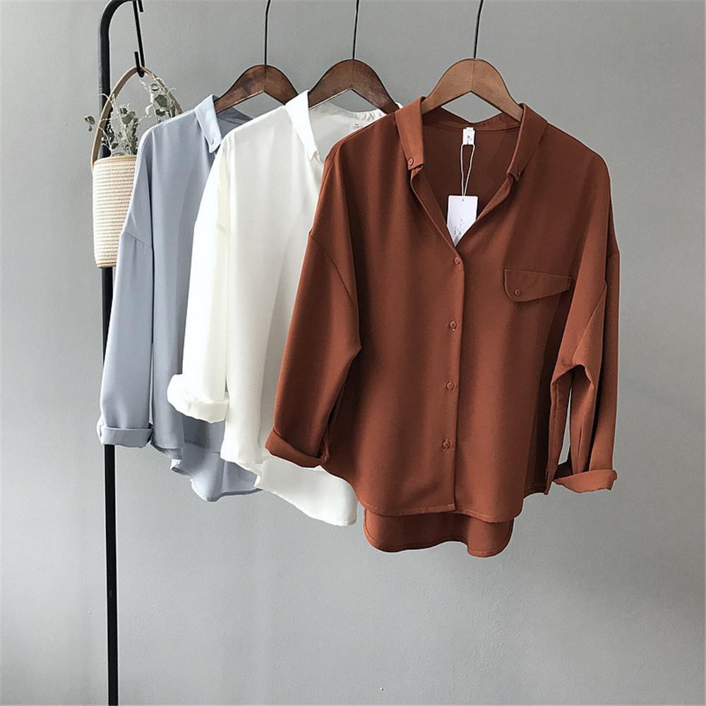 High quality Casual Chiffon white Women blouse shirt oversized Three Quarter sleeve loose shirt office wear casua tops blusas (2)