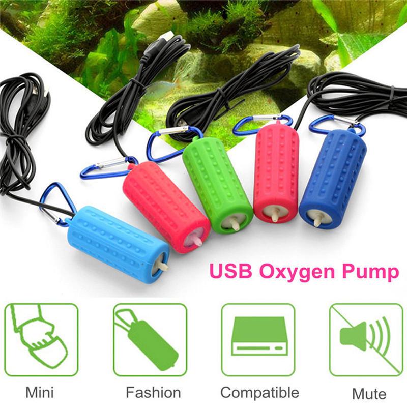 Aquarium Air Pump Mini USB Oxygen Pump Air Compressor Single Double Outlet Water Inflation Pump Aquatic Terrarium Fish Tank Accessories 12
