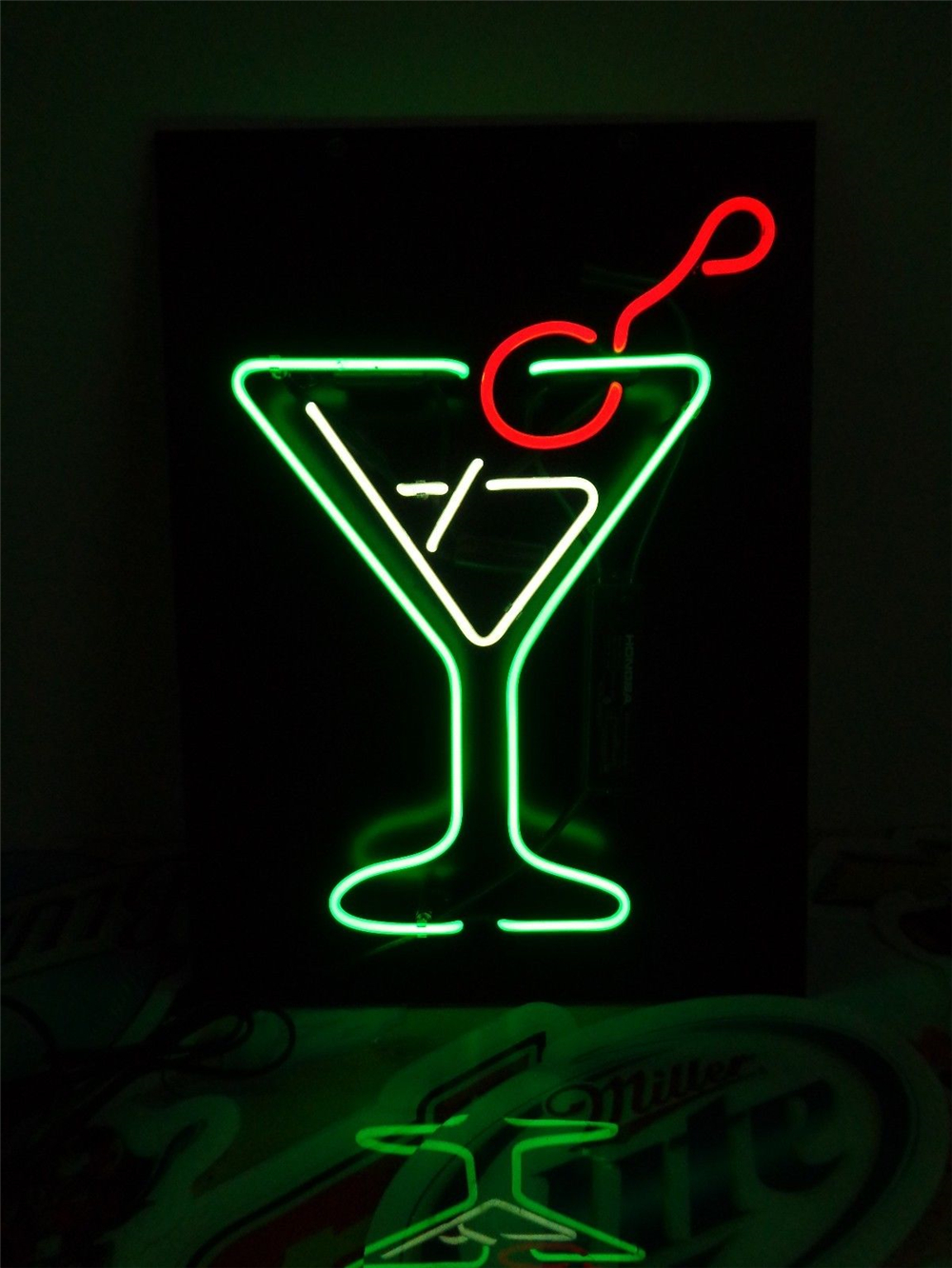 2/' Lighted liquor bottle display shot glass display GARAGE bar sign  LED