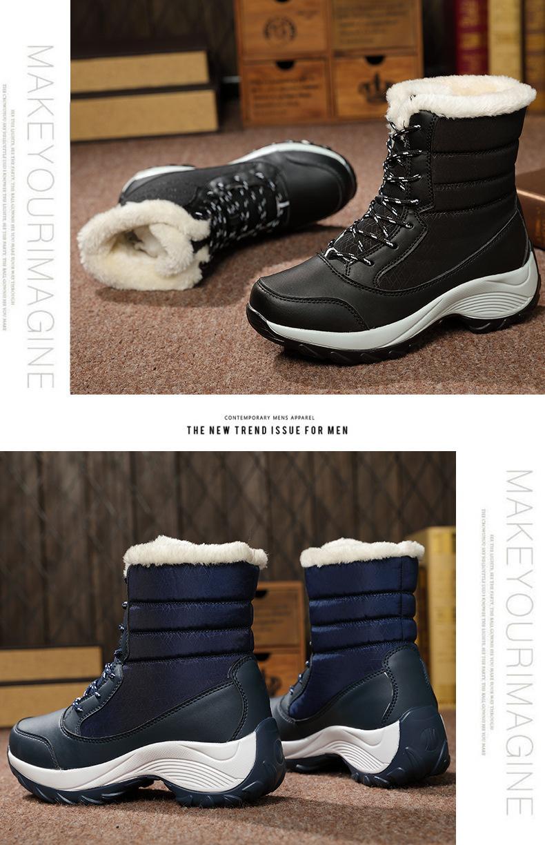 Women Warm Fur Winter Boots Fashion Women Shoes Lace Up Platform Ankle Boots Waterproof Snow Non-slip Ladies Shoes