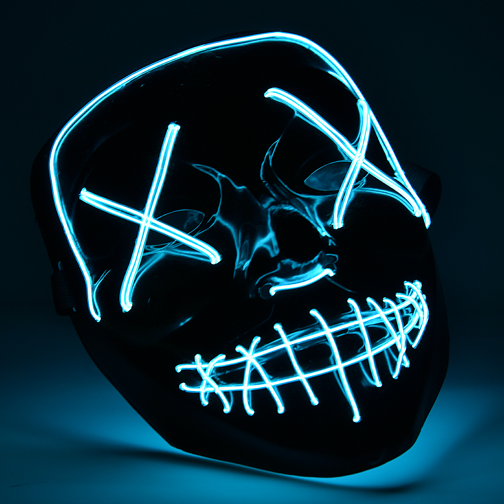 Halloween Mask Light Up Neon Skull Funny Mask The Purge Costume Election Party Mask Glow In Dark Scary Eve Masks Supply (2)