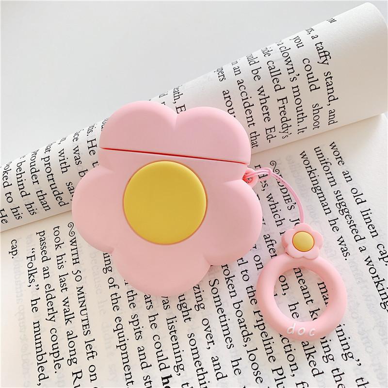 Menina bluetooth fone de ouvido flor case para airpods acessórios capa protetora com anel anti-perdido cinta bonito dos desenhos animados 3d flor agradável presente