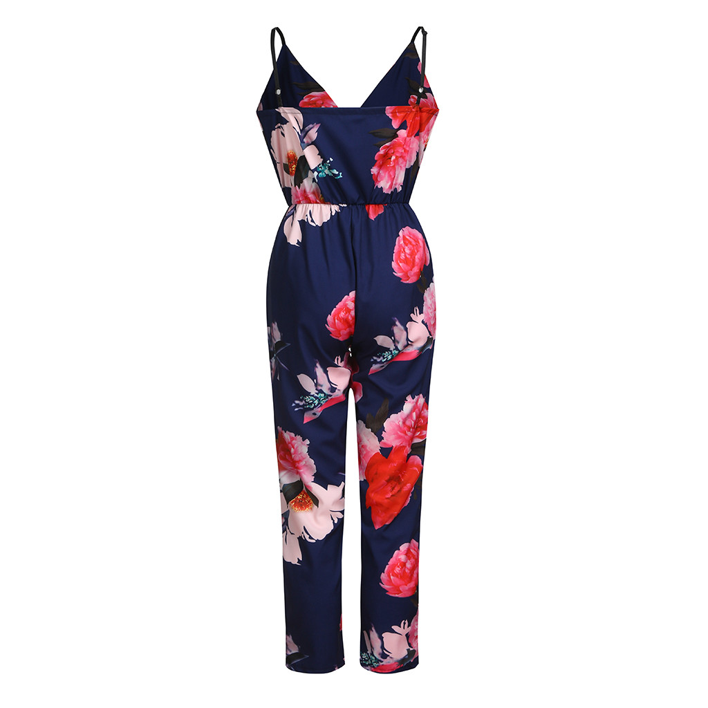 wholesale 2019 Fashion Women Printed Jumpsuit Summer Casual Strappy Off The Shoulder Sleeveless Playsuit Party Jumpsuit Ja25