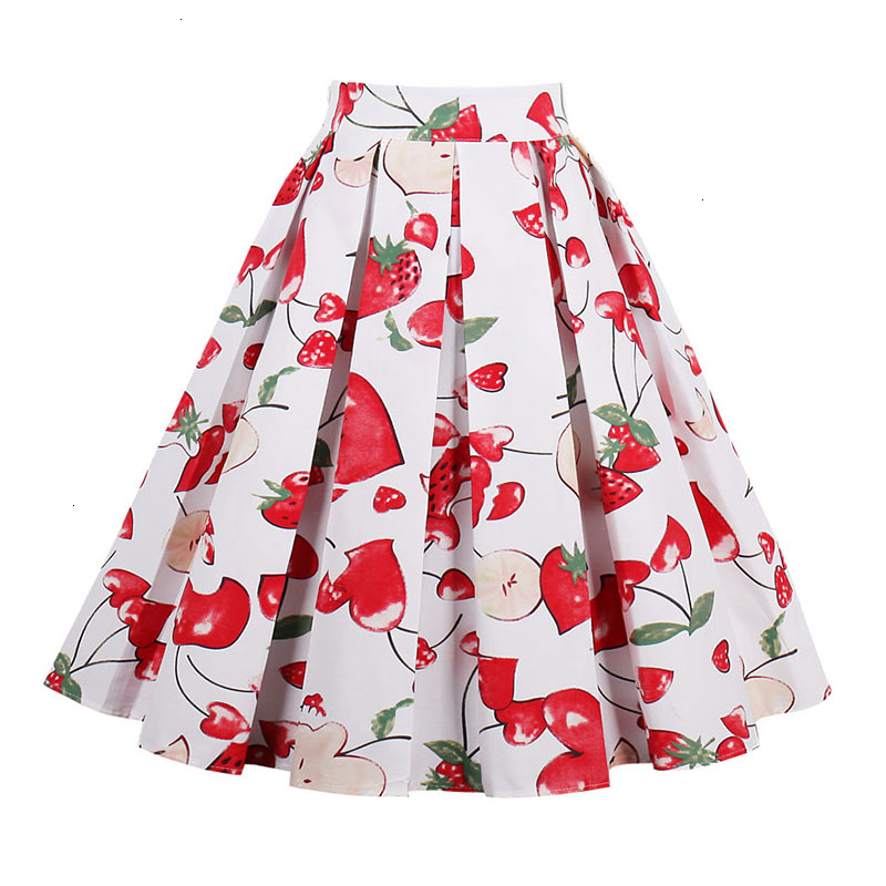 Kostlish Retro Print Flower Summer Skirts Womens High Waist Vintage Skirt Elegant A-Line Midi Women Skirt Plus Size XXL 22 (4)