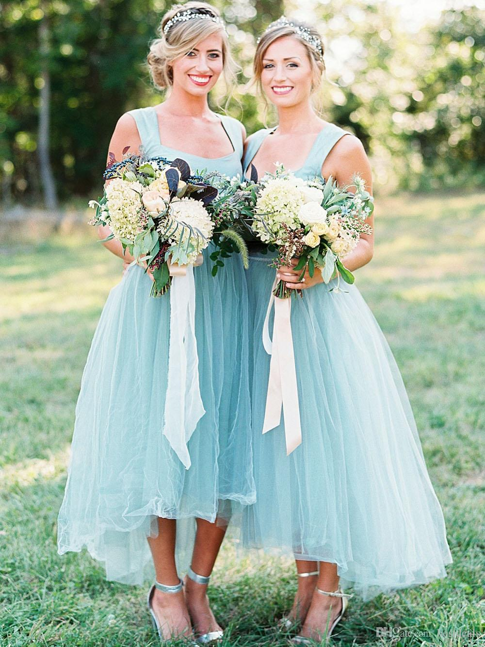 2018 Elegant A Line High Low Tulle Teal Bridesmaid Dresses Square Neck Country Style Cheap Bridesmaid Dress Prom Party Gowns
