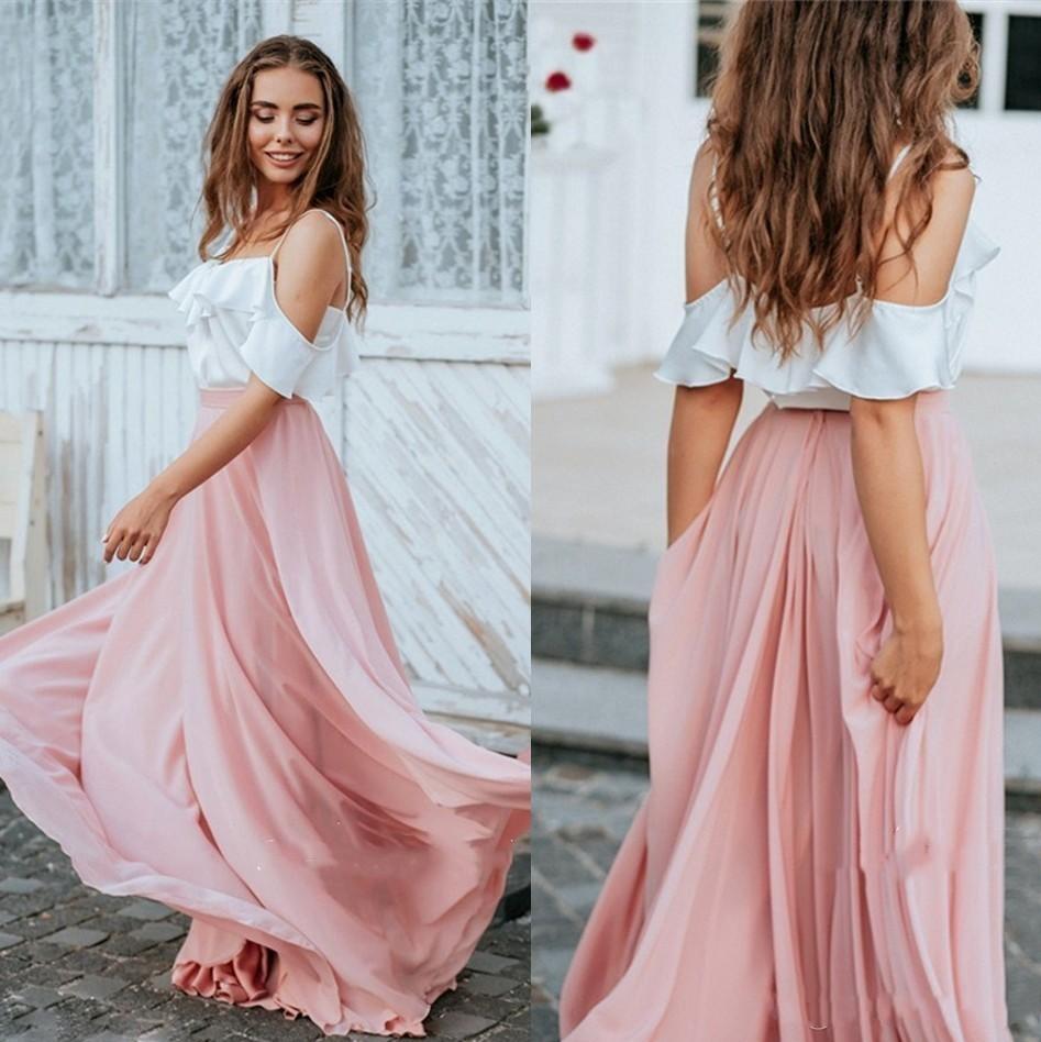 2020 charming kontrast weiß rosa brautjungfernkleider eine linie spaghetti  flowy chiffon lange böhmische trauzeugin kleider