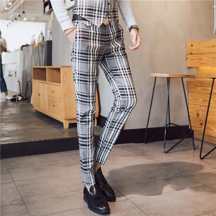 British Style Men Dress Suits Dress Pants Slim Fit Mens Fashion Plaid Casual Business Suit Pants Men Plaid Pants Mens Trousers Y190420