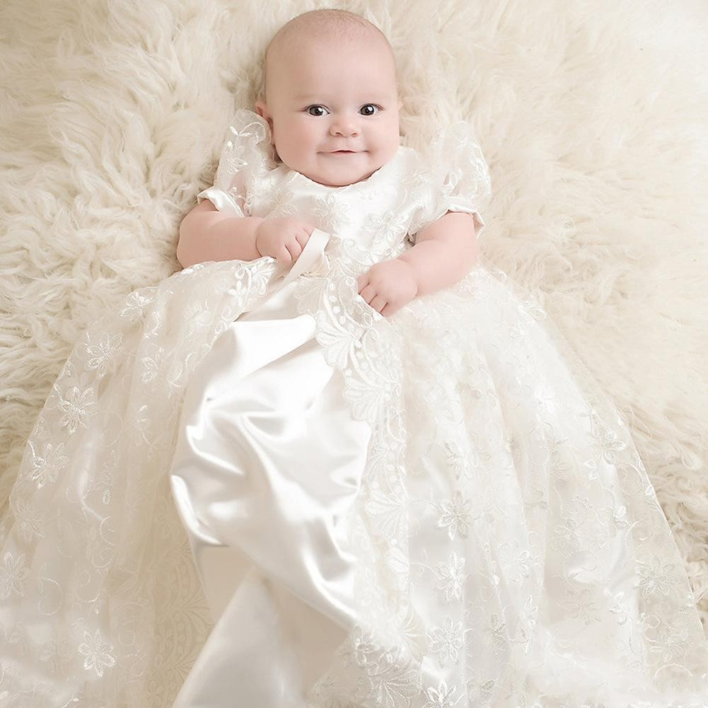 Newdeve Ivory Lace Infant Toddler Christening Baptism Gowns Long Babies