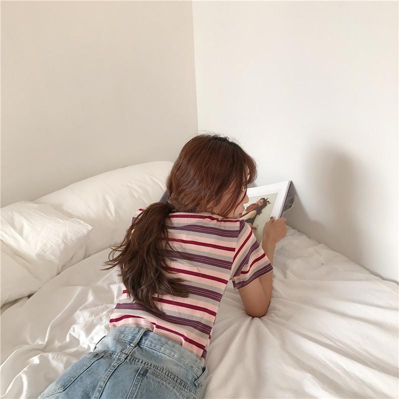 Korean Summer T-shirt Women Casual Ulzzang Long Sleeve Striped T Shirt Female Tshirt Vogue Tops Tee Q190522