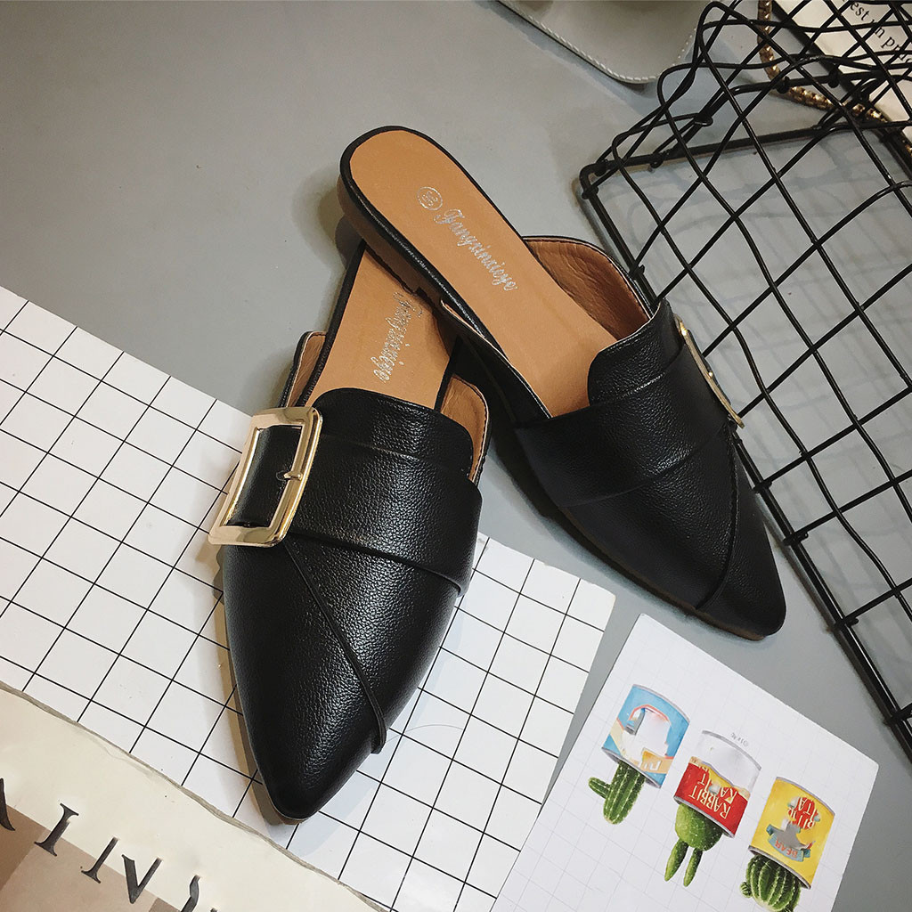 Shoes Women Leather Buckle Strap Fashion Casual Soft Comfortable Pointed Toe Loafers Spring Autumn Wild Single Slippers