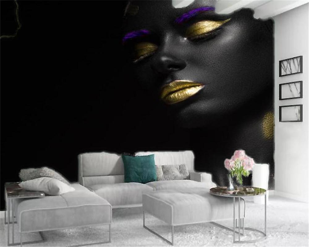 Papier Peint Pour Petit Salon 3d fond d'écran accueil fond tv fille noire chambre à coucher salon mur  papier peint avec de l'or rouge à lèvres