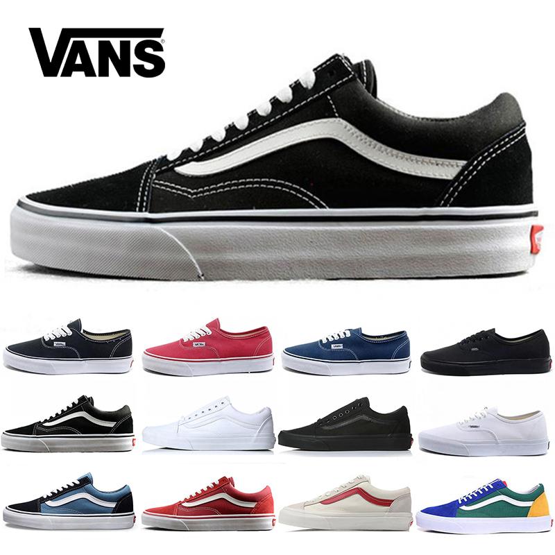 Original Vans Old Skool Hommes Femmes Casual Chaussures De Course Running Shoe Club blanc noir Trainer Sneaker Skateboard Toile Sports 36 44