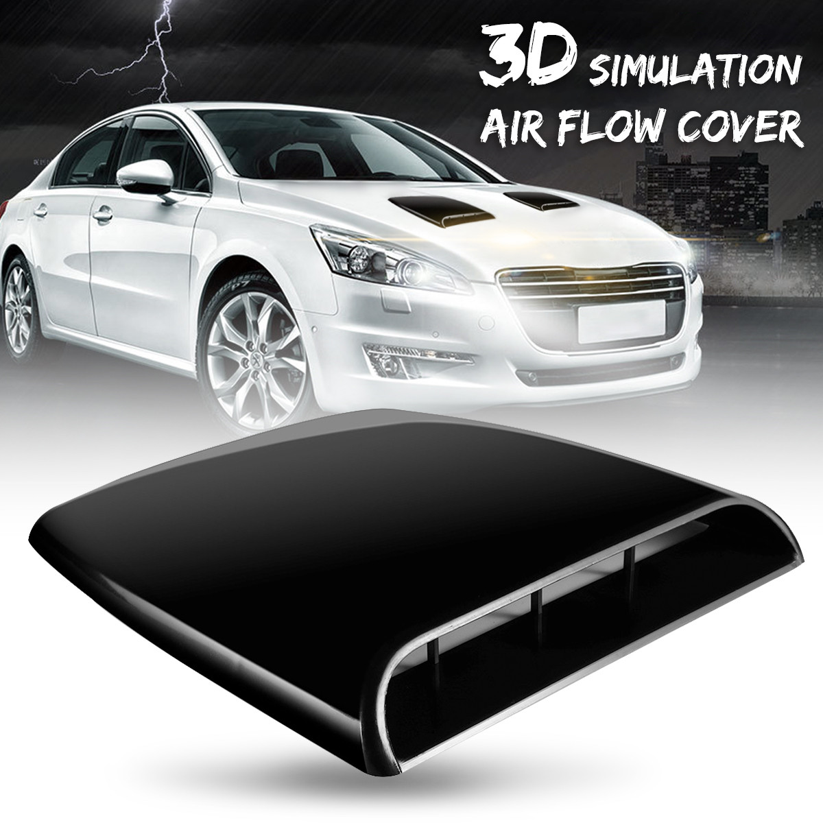 Car 3D Decorative Air Flow Intake Hood Scoop Vent Bonnet Cover Black Universal