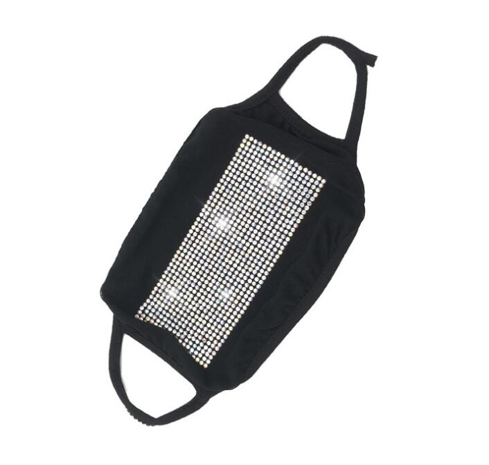 Bling face mask Crystal rhinestone diamond sparkle reusable cloth face cover protive facemask for teenager adult black