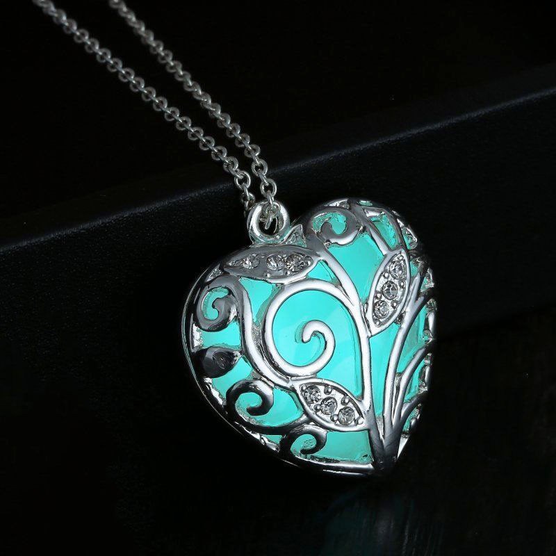 Shellhard Unisex Luminous Necklaces Vintage Glow in the Dark Pendant Locket Love Heart Necklace For Women Jewelry Accessories