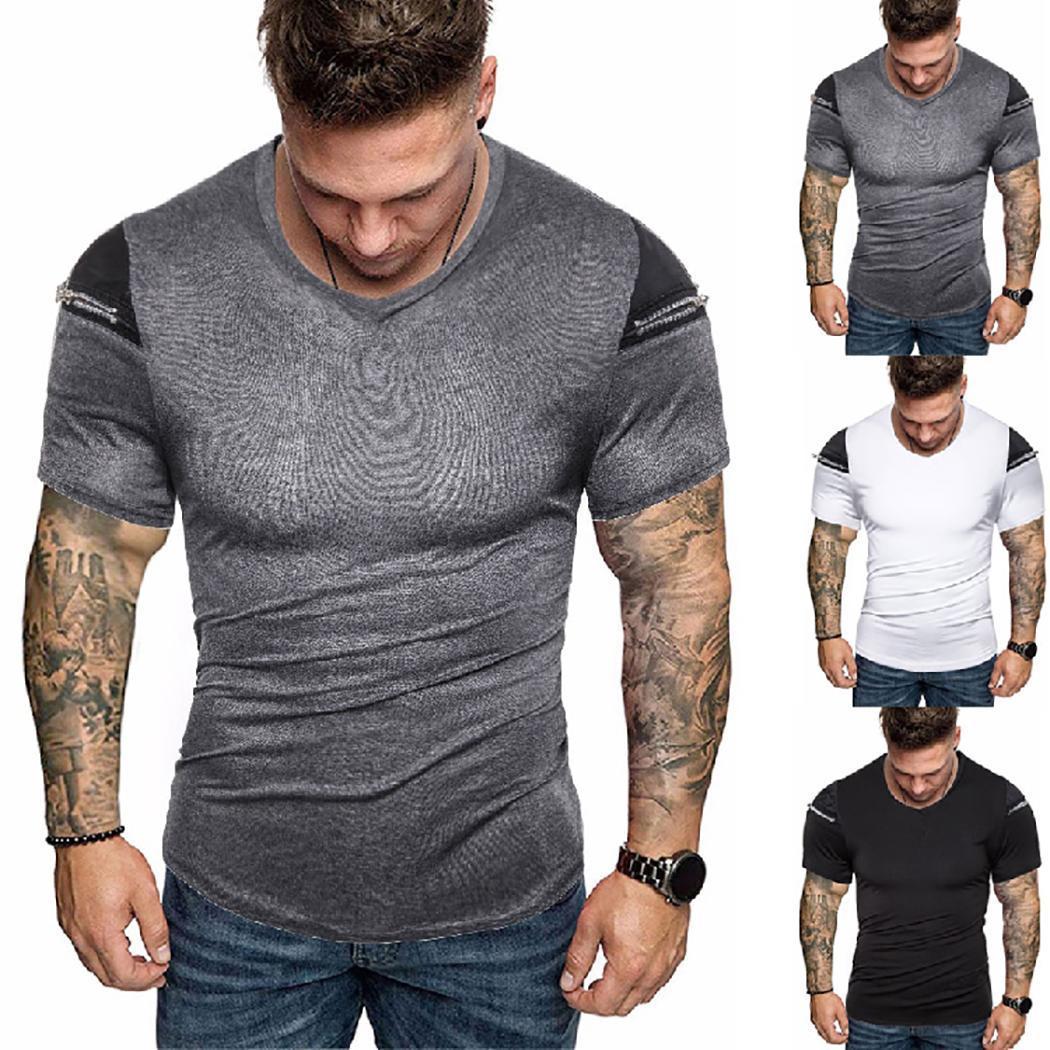 Homens Moda Simples Patchwork Manga Curta Zipper Magro T-shirt Verão Top New Fashion Men T-shirt