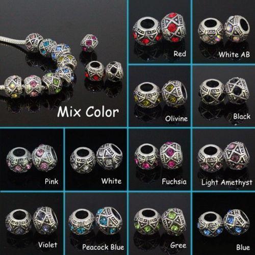 Bulk Wholesale Fashion Multicolor Rhinestone Tibet Silver European Charm Beads Fit Bracelet