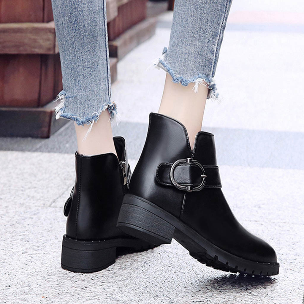 Boots Women Nice Fashion Elegant Black Ankle Boots For Women Round Toe Zipper Pu Leather Boots Shoes Botines Mujer